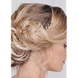 FXmimior 3 PCS Bridal Women Vintage Wedding Party Hair Pins Crystal Hair Accessories (Gold)