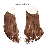 14'' 16'' 18'' Synthetic Flip In Natural Wave Halo Hair Extensions Invisible Hidden Secret Wire Crown Headband Hair Extension,Copper Auburn,16inches,China