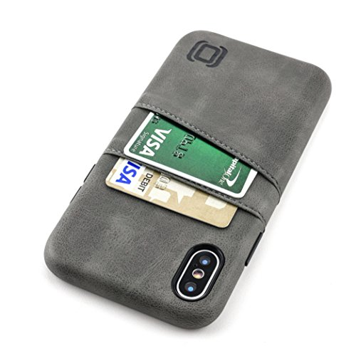 Dockem Exec Wallet Case for iPhone X; Slim Vintage Synthetic Leather Card Case with 2 Card/ID Holder Slots, Simple Professional Executive Snap On Cover [Grey]