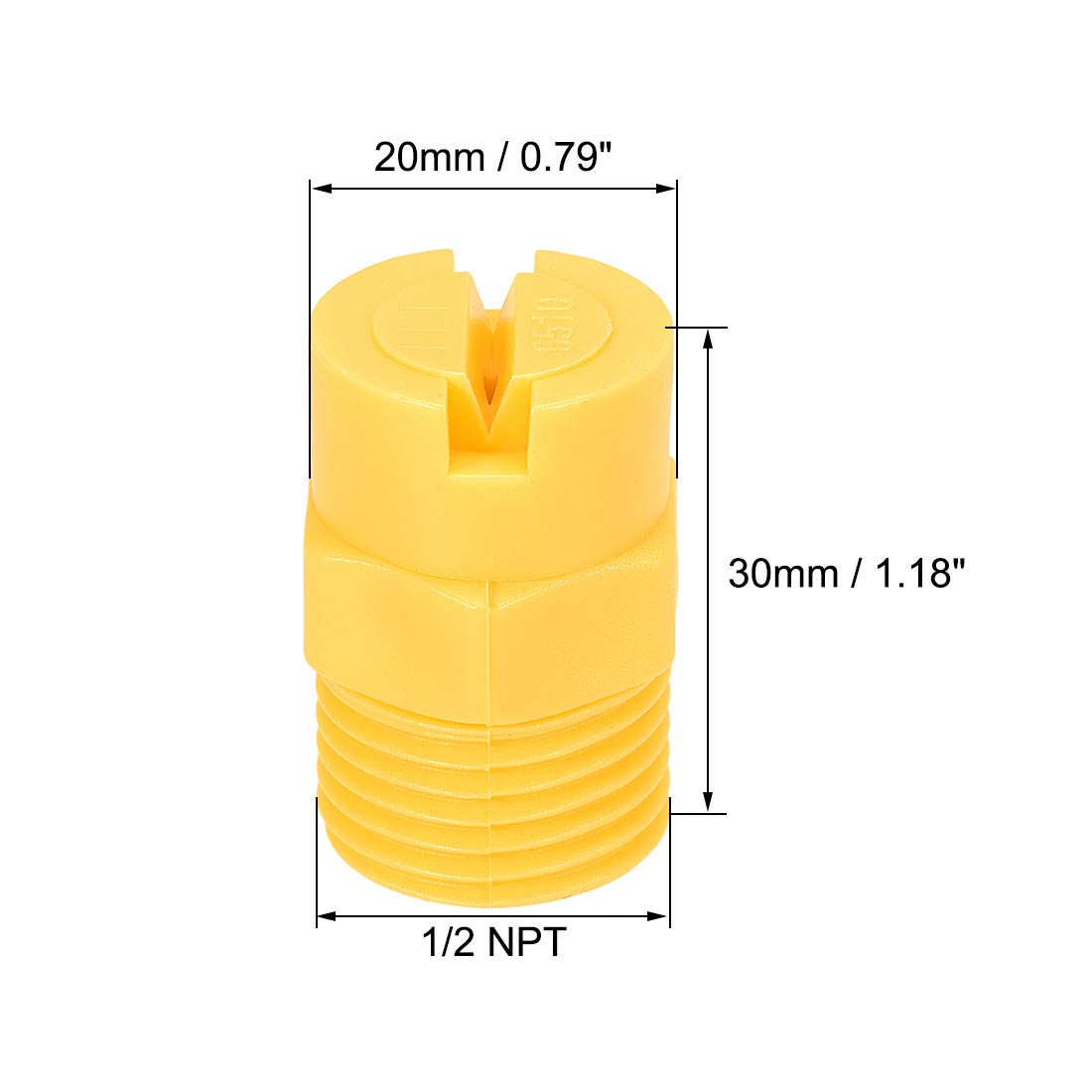 Flachstrahld/üse D/üsen PP 65 Grad 3,6mm /Öffnungsdurchmesser 1//2NPT Gewinde sourcing map 5 STK