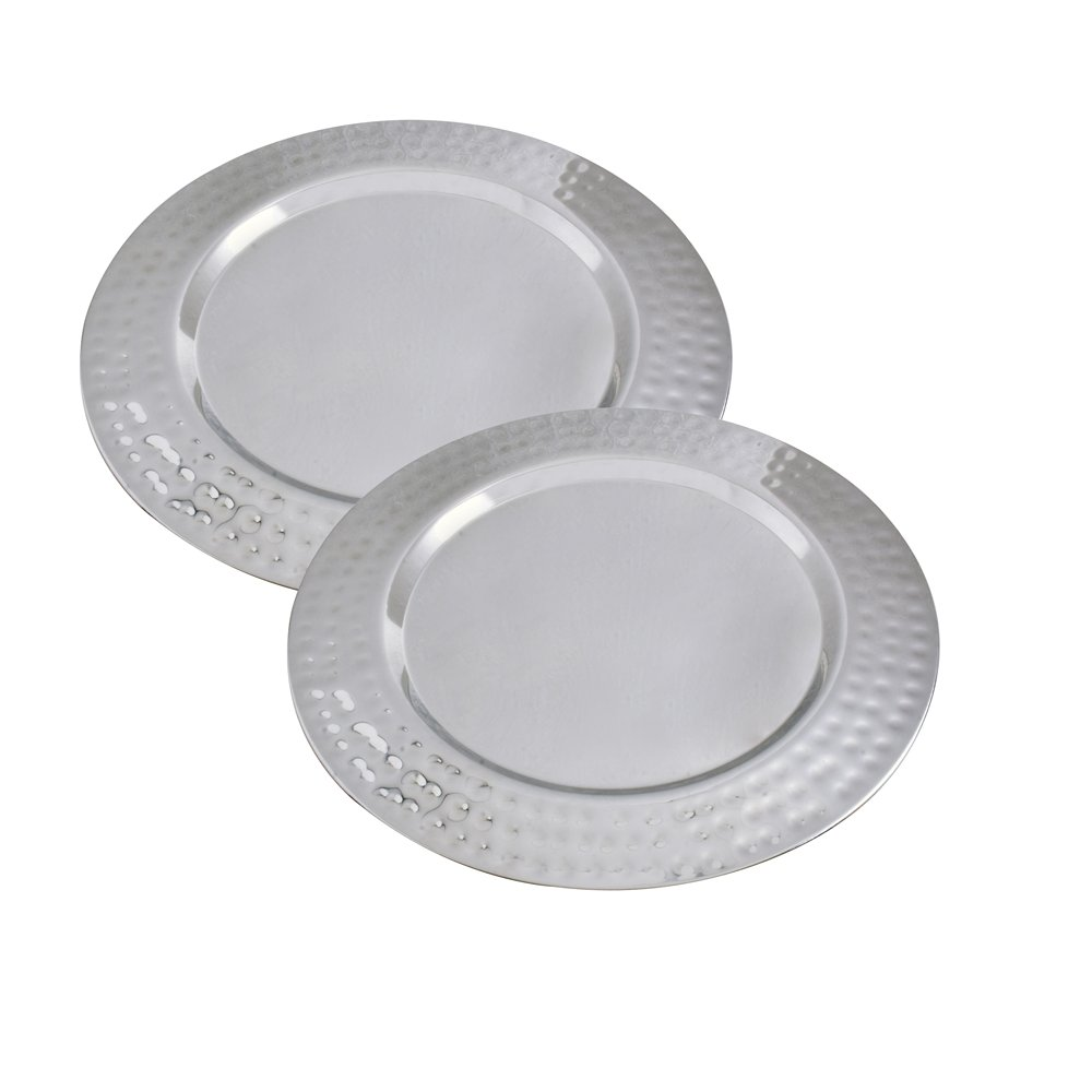 Kosma Set of 2 Premium Charger Plates, Size - 33 cm | Stainless Steel High Polished Charger Plate | Decorative Under-Plates (hammered)