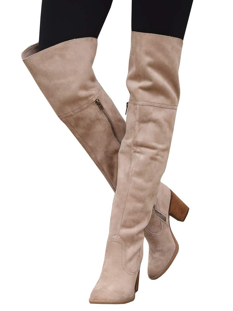 Women's Over the Knee Chunky Block Heel Side Zipper Slouch Faux Suede Riding Boots Western Shoes