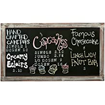 MyGift 35-Inch Wall-Mounted Chalkboard, Vertical / Horizontal Hanging Torched Wood Frame Message Board