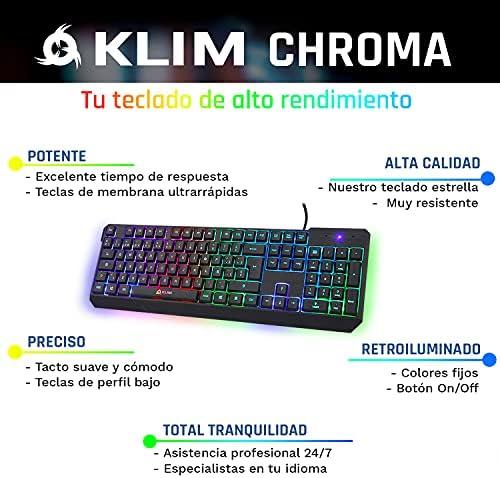 ⭐️KLIM™ Chroma - Teclado gaming ESPAÑOL + Teclado USB ligero, duradero, resistente al agua, ergonómico, silencioso + Teclado gamer con cable para PC ...