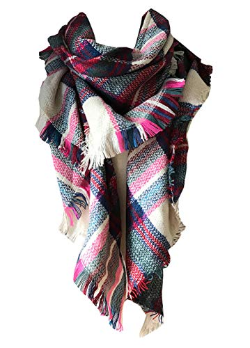Wander Agio Womens Warm Scarf Triangle Shawls Large Scarves Stripe Plaid Fichu Beige Pink Colour 1