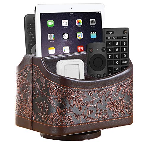 Remote Control Holder PU Leather 360 Degrees Rotatable Desktop Supply Organizer Storage Box for Media Controllers Media Stationery Nightstand TV Caddy E-Reader iPad Phone Pencil Guide (Retro Flower)