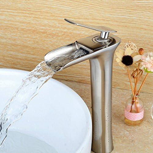 Grifo monomando para lavabo Wovier n/íquel, cepillado, ca/ño en cascada, con manguera de entrada, cuerpo alto