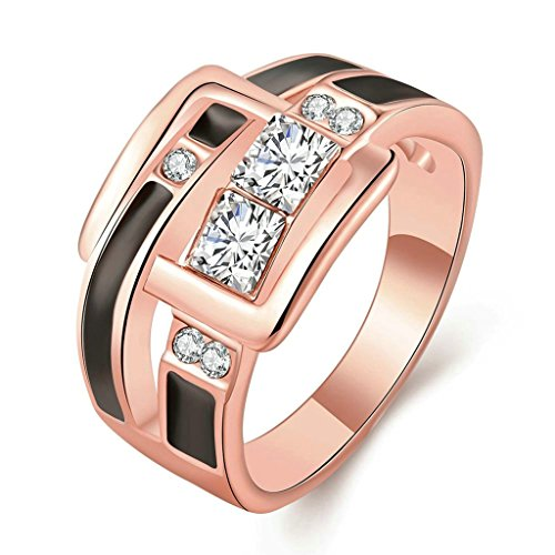 [Beydodo 18K Rose Gold Plating Womens Scripture Ring Irregular Form White and Rose Gold Size 8] (Cocktail Honey Costumes)