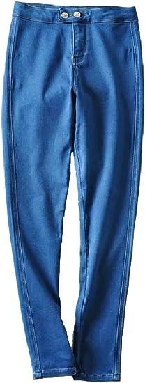 EnergyWD Women Long Pants Denim Big Pockets Butt Lift Over Waist Straight Jean