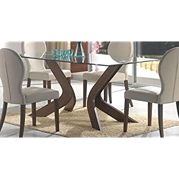 Amazon.com - GLASS TOP DINING TABLE, F/WLN, 70.7x35x30 - Tables