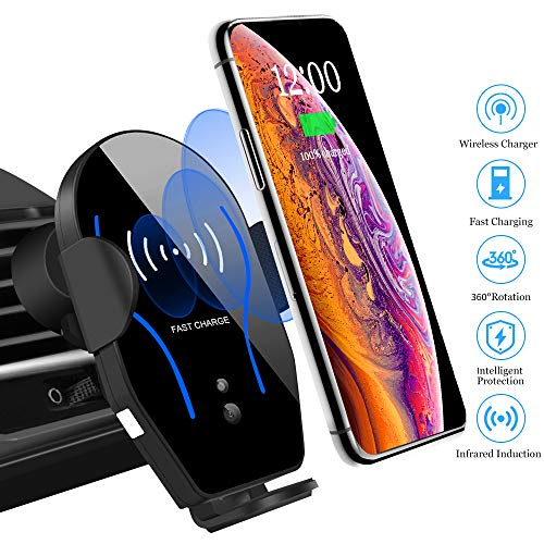 (Car Phone Mount Cell Phone Holder Air Vent Mount for Car Wireless Charger Compatible with iPhone Xs Max/XS/XR/8 Plus Samsung Galaxy S10/S9/S8/S7 Edge/Note5 & Other Qi Smartphone)
