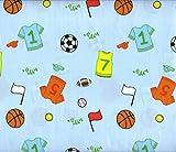 Sports Twin Sheet Set 3 Piece Basketball Baseball Soccer Football Tennis Light Blue Sheets