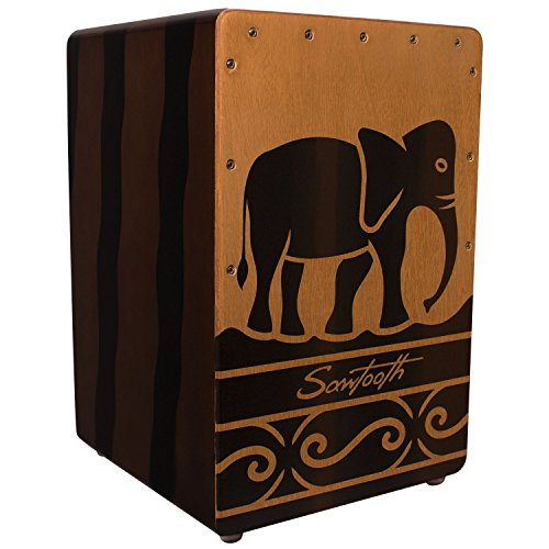Sawtooth Harmony Series Hand Stained Elephant Design Compact Size Cajon by Sawtooth