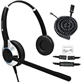 TruVoice HD-550 Deluxe Double Ear Noise Canceling Office/Call Center Headset with U10P Bottom Cable Works with Mitel, Nortel, Avaya Digital, Polycom VVX, Shoretel, Aastra, Fanvil, Digium + Many More