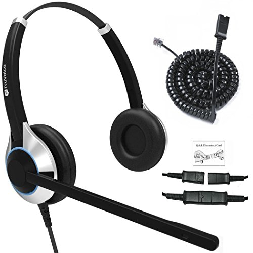 - TruVoice HD-550 Deluxe Double Ear Headset with Noise Canceling Mic and Bottom Cable That Works with Mitel, Nortel, Avaya Digital, Polycom VVX, Shoretel, Aastra, Fanvil, Digium Phones