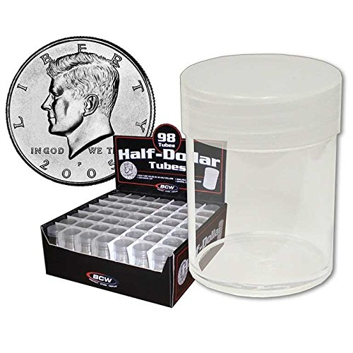 (10) BCW Brand Round Clear Plastic (Half Dollars) Size Coin Storage Tube Holders with Screw on Lid
