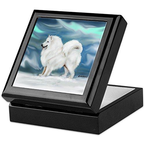 CafePress Samoyed and Northern Lights Keepsake Box, Finished Hardwood Jewelry Box, Velvet Lined Memento - Tile Box Rosewood