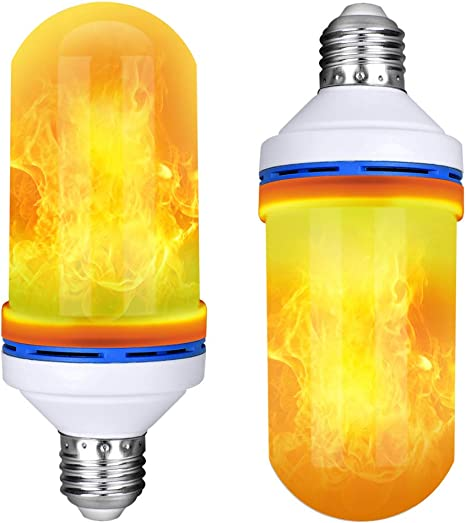 LED Flame Bulb Yellow - 2pcs FTON LED Bulb Flicker Flame Effect Fire Light Bulbs Effect Simulated Decorative Light Atmosphere Lighting Smart 4 Lighting Modes E26 Base