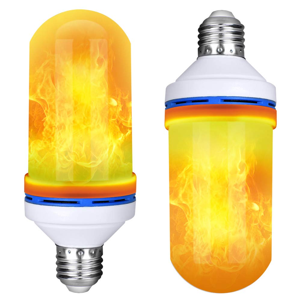 Led Flame Effect Bulb, Loveishere 4 Modes Fire Light Bulb, Upside Down Effect Flickering Simulation Effect Fire Bulb for Atmosphere Decoration, Halloween and Christmas Party, 2 Pack, E26 E27 Base