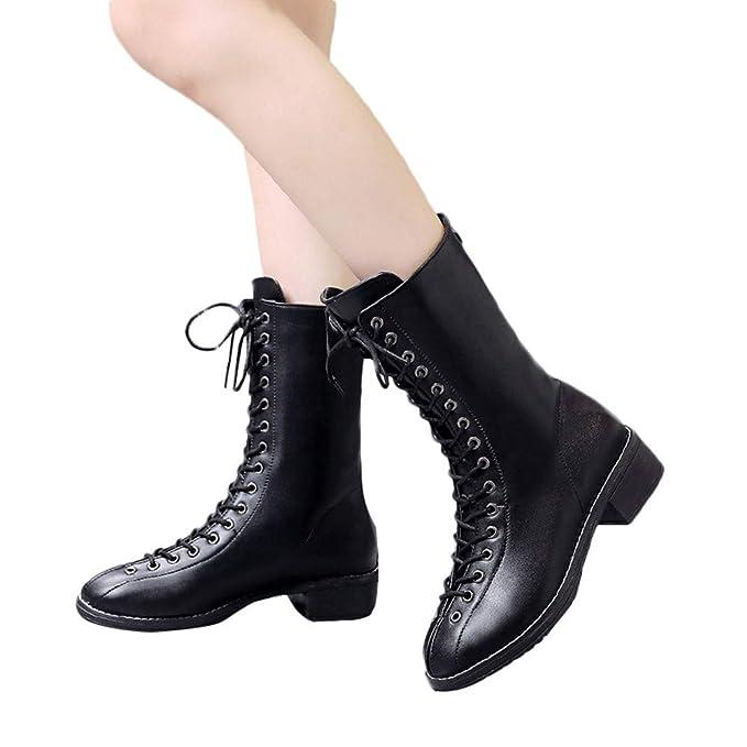 Botas Martin con Cordones para Mujeres, Remaches de Mujer Zapatos Botas Camperas de