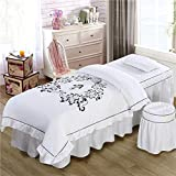 YXLJYH Spa Massage Table Sheet Sets Lotus Leaf lace Bedspreads Fumigation Physiotherapy Bed Cover for Beauty Salon, 4pcs-A 70x185cm(28x73inch)