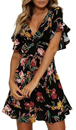 Ainr Des Femmes V-cou Flare Floral Robe Imprimée Robe De Plage Tunique Noire