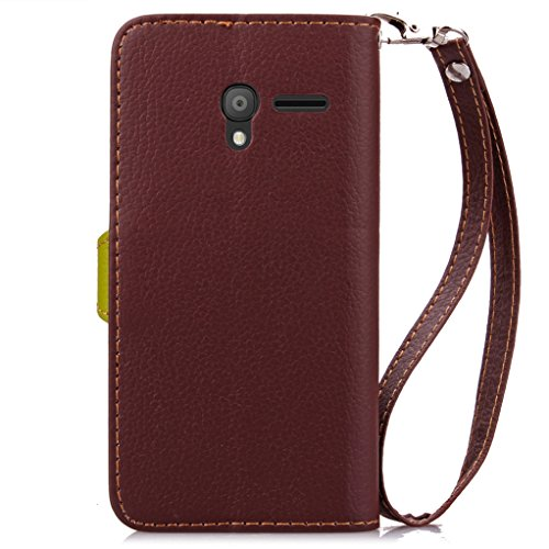 Trumpshop Smartphone Carcasa Funda Protección para Alcatel OneTouch Pixi 3 (5) 5.0 + Rojo + PU Cuero Caja Protector Billetera con Cierre magnético la Ranura la Tarjeta Choque Absorción Marrón