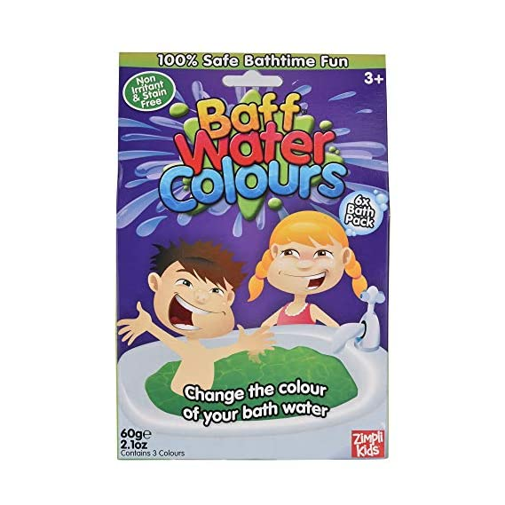 Zimpli kids Baff Water Colours, 6 Bath Pack 60 Grams for Kids, Holi Special, Age 3 to 8 Years