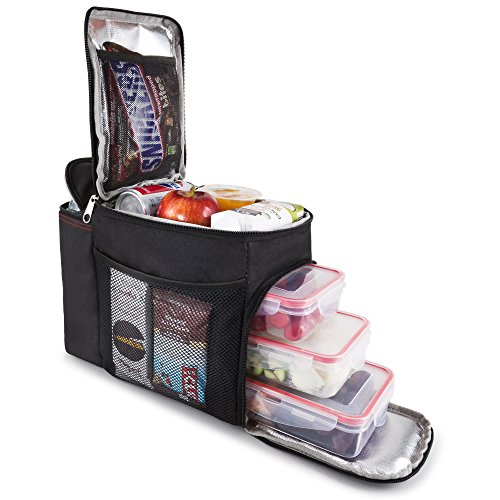 HemingWeigh Reusable Insulated Lunch Box - Durable Lunch Bag Cooler w/Spacious Storage Compartments - Includes 3 Food Storage Containers & Ice Pack (Black) ()