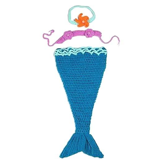 d7ae8da6abd5e Amazon.com  Mrotrida Newborn Baby Costume Mermaid Tail Headband Bra  Knitting Photography Props  Home   Kitchen
