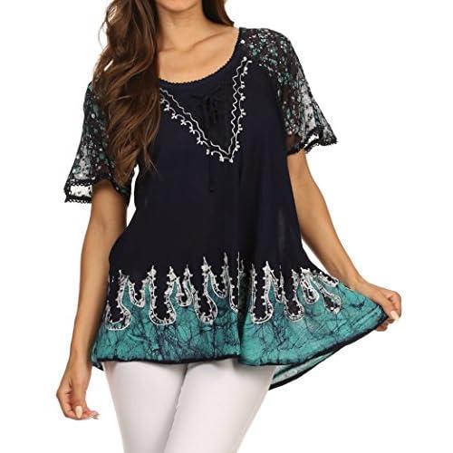 Sakkas Cora Relaxed Fit Batik Design Embroidery Cap Sleeves