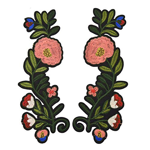 Xuuaiq A Pair Flower Iron On Embroidery Patch for Clothing Clothes Jeans Decoration DIY Apparel Sewing Accessories