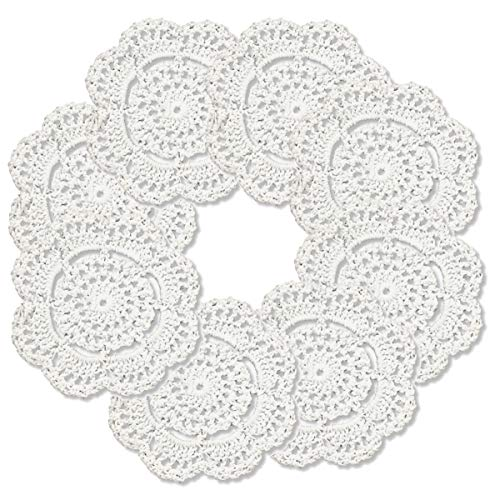 - gracebuy White Pack of 8 PCS 4 Inch Round Handmade Crochet Lace Placemats Coasters Doilies