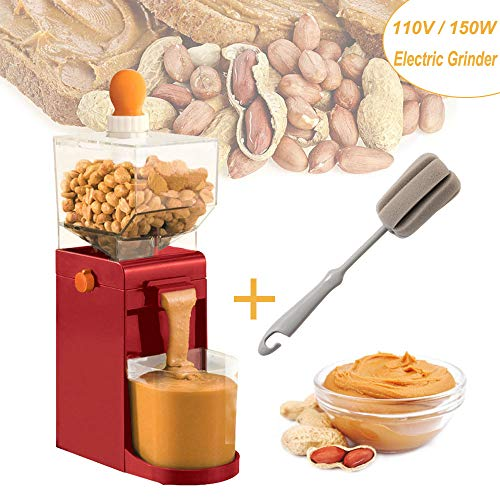 110V Electric Peanut Butter Maker – 150W Electric Grain Coffee Bean Grinder , 500ML Household Peanut Sauce & Sesame Sauce Grinder , Portable Mini Electric Grain Mills Machine for Coffee Corn Peanut
