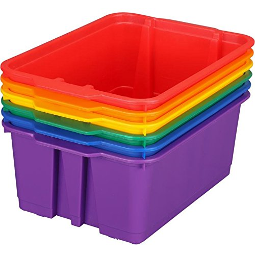(Really Good Stuff Stackable Plastic Book and Organizer Bins for Classroom or Home Use - Sturdy Plastic Baskets in Fun Rainbow Colors (Set of 6))
