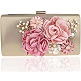 EPLAZA Women Large Capacity Flora Evening Party Bags Clutch Purse Vintage Wedding Handbags Wallet (gold)