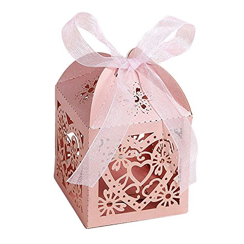 UNIQLED Pack of 60 Love Heart Laser Cut Wedding Party Favor Box Candy Bag Chocolate Gift Boxes Bridal Baby Shower Cubic with Ribbons (Pink)