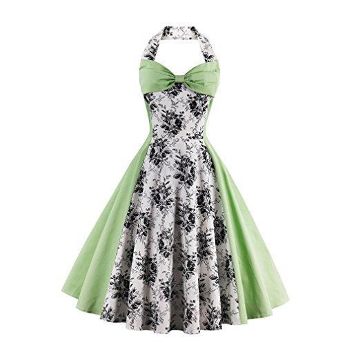 Halter vestidos Feminino parte verde vestido Nueva Luz Plus DRESS Mujer vestimenta Rockabilly ropa VINTAGE de Patchwork Swing informal Size verano gvTIH