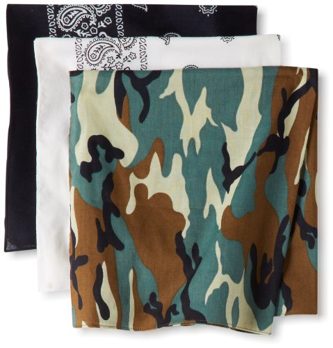 Levi's Men's 3 Pack 100% Cotton Bandana Headband Gift Sets, Black, White, Camo, One Size