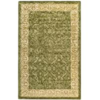 Safavieh Silk Road Collection SKR213A Handmade Spruce and Ivory New Zealand Wool Oval Area Rug (46 x 66 Oval)