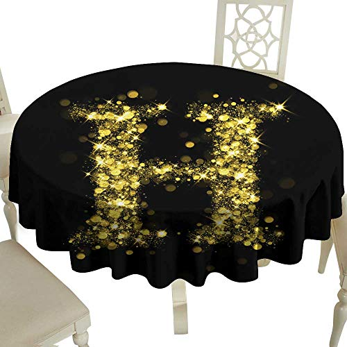 WinfreyDecor Restaurant Tablecloth Sparkling Letter H of Glittering Stars Bokeh for Kitchen Dinning Tabletop Decoration D35