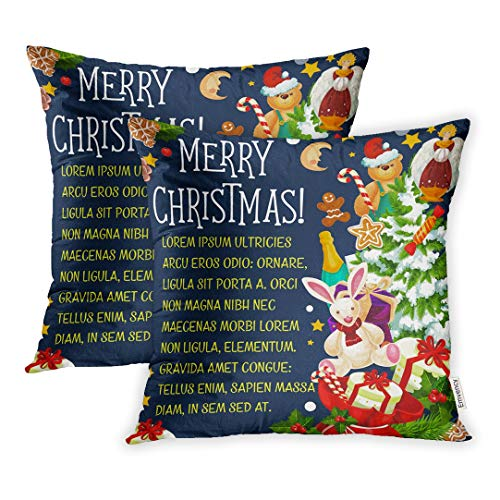 Emvency Set of 2 Throw Pillow Covers Cases Merry Christmas Holiday Wishes Tree Santa Toys in Snowman Golden Bells 20