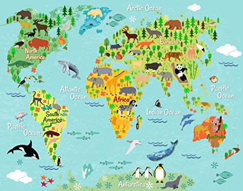 Animal World Map Wall Art - (Set of 1) 11x14 - Unframed ()