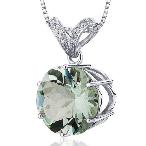 Striking Slider 10.00 carats Round Octagon Cut Sterling Silver Rhodium Finish Green Amethyst Pendant