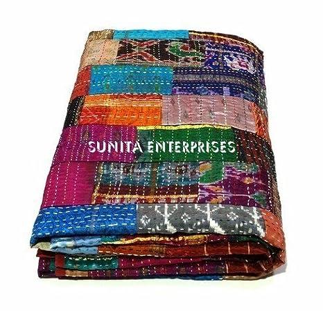 "King Kantha Quilt Indian Sari Quilt Bedspread Bed Cover Kantha Rallies 90/'x108/"""