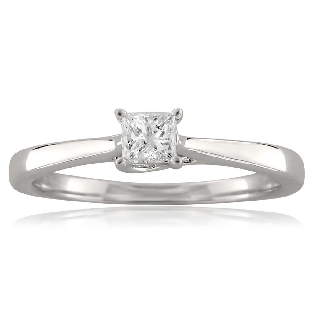18k White Gold Princess-cut Solitaire Diamond Engagement Ring (1/4 cttw, I-J, I1-I2), Size 6.5