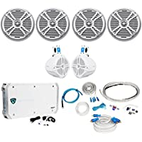 4) Rockville RMSTS80S 8 2000w Marine Boat Speakers+2) Wakeboards+Amp+Wire Kit