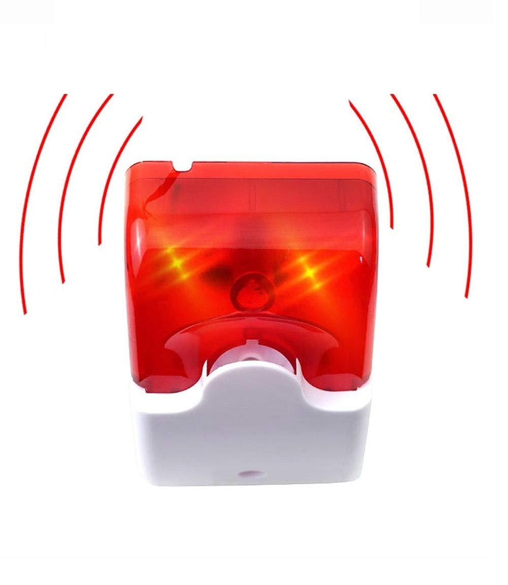 Detector de Humo Indicador de alarma estrobosc/ópica mini sonido de la sirena de la l/ámpara Rojo intermitente azul claro con cable 12V 24V 220V 110 dB Color : Red, tama/ño : 220V
