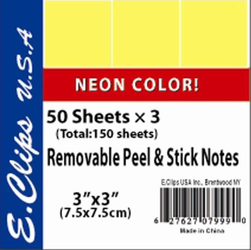 UPC 672672079990, DDI - Sticky Note Pads 3/pack Neon Yellow (1 pack of 72 items)