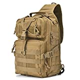 Gowara Gear Tactical Sling Bag Pack Military Rover Shoulder Sling Backpack EDC Molle Assault Range Bags Day Pack with USA Flag Patch Tan